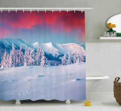 Kırmızı Gökyüzü Karlı Dağlar Duş Perdesi Dekoratif