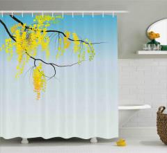 Gökyüzü ve Mimoza Çiçekleri Duş Perdesi Sarı Mavi