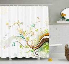 Amber Çiçekleri ve Palmiyeler Duş Perdesi Kahverengi