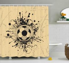 Futbol Topu Desenli Duş Perdesi Siyah Bej Dekoratif