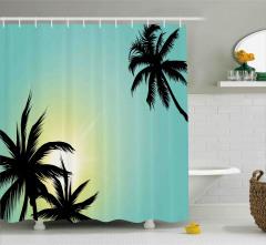 Palmiyeler ve Güneş Duş Perdesi Siyah Sarı Yeşil