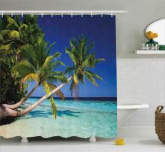 Denize Uzanan Palmiyeler Duş Perdesi Turkuaz Deniz