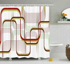 Dekoratif Eğriler Desenli Duş Perdesi Şık Tasarım