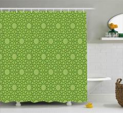 Dekoratif Yıldız Desenli Duş Perdesi Şık Yeşil