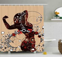 Şık Kadın Desenli Duş Perdesi Dekoratif Dizayn
