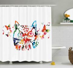 Rengarenk Baykuş Desenli Duş Perdesi Nota Kelebek