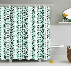 Yeşil Daire Desenli Duş Perdesi Dekoratif Şık
