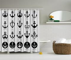 Denizcilik Temalı Duş Perdesi Siyah Beyaz Trend