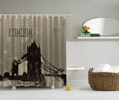 Londra Temalı Duş Perdesi Gri Bej Siyah Şık Tasarım