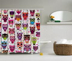 Rengarenk Baykuş Desenli Duş Perdesi Şık Tasarım