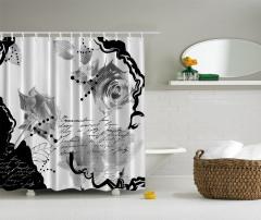 Siyah Beyaz Gül Desenli Duş Perdesi Nostaljik Şık