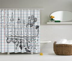 İstanbul Temalı Duş Perdesi Siyah Beyaz Şık Tasarım