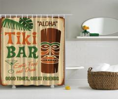Bar Temalı Duş Perdesi Kahverengi Yeşil Şık Tasarım