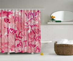 Sevgililere Özel Duş Perdesi Aşk Pembe Kırmızı Şık