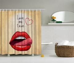 Kırmızı Dudak Desenli Duş Perdesi Bej Şık Tasarım