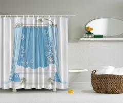 Mavi Banyo Temalı Duş Perdesi Duş Perdesi Şık Beyaz