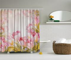 Pembe Çiçek Desenli Duş Perdesi Şık Tasarım Çeyizlik