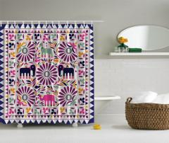 Fil ve Çiçek Desenli Duş Perdesi Mor Şık Tasarım