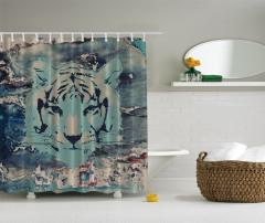 Kaplan Desenli Duş Perdesi Şık Tasarım Mavi Siyah