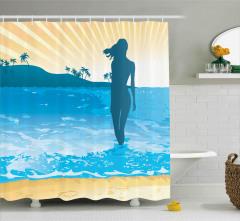 Denizdeki Kadının Silüeti Duş Perdesi Mavi Sarı