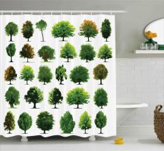 Orman Ağaçları Desenli Duş Perdesi Yeşil Dekoratif