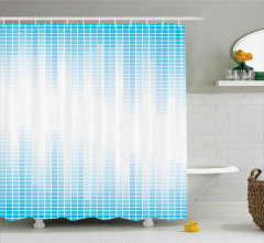 Mavi Beyaz Ekolayzır Desenli Duş Perdesi Geometrik