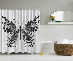 Kelebek Desenli Duş Perdesi Siyah Beyaz Gri Şık