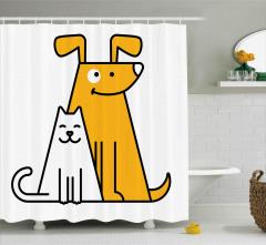 Sevimli Kedi ve Köpek Duş Perdesi Sarı Beyaz Şık