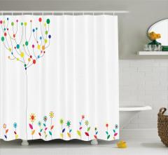 Dekoratif Çiçekler ve Ağaç Duş Perdesi Rengarenk