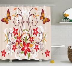 Kelebekli Çiçekli Desen Duş Perdesi Dekoratif Şık