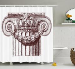 Tarihi Sütun Desenli Duş Perdesi Sanat Eseri Şık