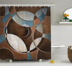 Kahverengi Daireler Desenli Duş Perdesi Soyut Sanat