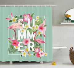 Tropikal Çiçekler ve Flamingolar Duş Perdesi Yaz