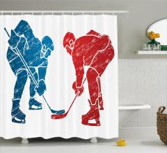 Hokey Oyuncuları Desenli Duş Perdesi Mavi Kırmızı