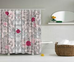 Pembe Çiçek Desenli Duş Perdesi Siyah Beyaz Trend