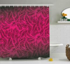 Dekoratif Yaprak Desenli Duş Perdesi Kırmızı Siyah