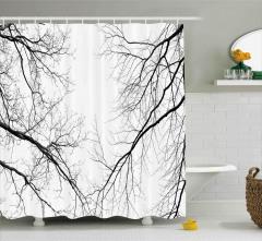 Dökülmüş Yapraklı Ağaçlar Duş Perdesi Siyah Beyaz