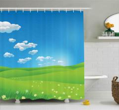 Sarı Papatyalar ve Gökyüzü Duş Perdesi Yeşil Mavi