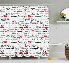 Seni Seviyorum Desenli Duş Perdesi Kalpli Romantik