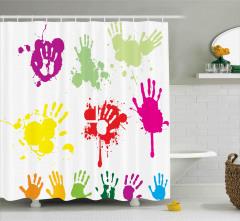 Rengarenk El İzleri Duş Perdesi Sprey Boya Efektli
