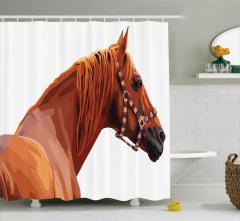 Kahverengi At Desenli Duş Perdesi Dekoratif Şık