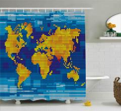 Pikselli Dünya Haritası Duş Perdesi Sarı Mavi Şık