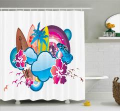 Yaz Tatili Desenli Duş Perdesi Sörf Kuş Çiçek Bulut