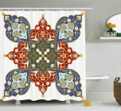 Oryantal Çiçek Süslemeli Duş Perdesi Dekoratif Şık