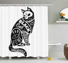 Kara Kedi Desenli Duş Perdesi Siyah Beyaz Trend