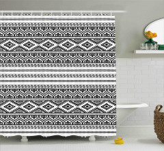 Aztek Desenli Duş Perdesi Siyah Beyaz Geometrik