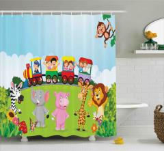 Trendeki Mutlu Çocuklar Duş Perdesi Hayvanlar Mavi