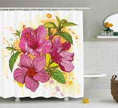 Amber Çiçeği Desenli Duş Perdesi Dekoratif Çeyizlik