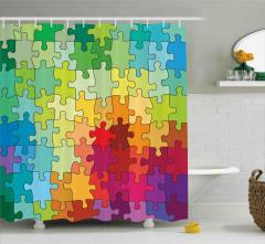 Rengarenk Puzzle Desenli Duş Perdesi Dekoratif Şık