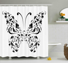 Siyah Beyaz Kelebek Desenli Duş Perdesi Çiçekli Şık